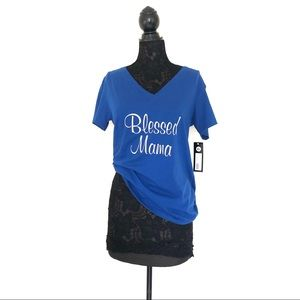 Tops - Blessed Mama Blue V Neck Tee Shirt NWT